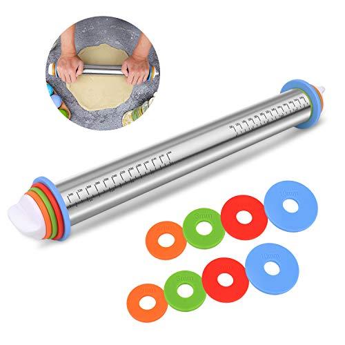BYbrutek Edelstahl Nudelholz, Einstellbares Teigroller mit 4 Abstandshalter für Teigdicken, Anti-Haft, BPA-frei Backzubehör, 35cm