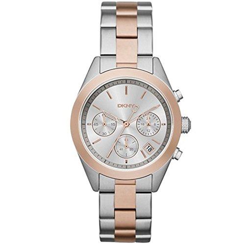 DKNY Reloj de mujer cuarzo 38mm correa de acero doble tono dial plata NY2270B