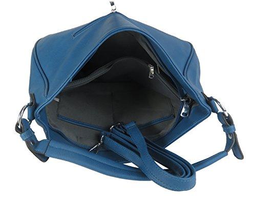 Hobo Bag Handtasche Damen Tasche einfarbig Metallic Silber Rot