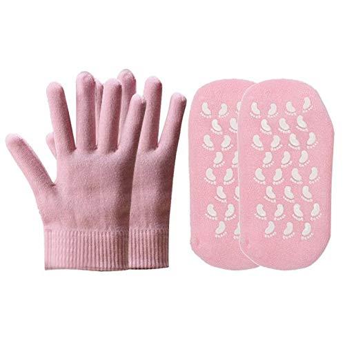2 Paare Wiederverwendbare SPA Gel Socken Handschuhe Moisturizing Whitening Peeling-Maske Ageless Beauty Handmaske Pflege für Outdoor warm halten -