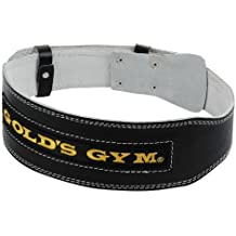 """Cinturón peso de cuero lumbar GOLDS GYM 4"""", talla S"""
