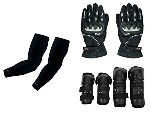 Auto Pearl Premium Quality Bike Accessories Combo Of Arm Sleeve for Protection against Sun, Dust and Pollution Black 2 Pcs. & Vemar 1 Pair of Full Hand Grip Gloves for Bike Motorcycle Scooter Riding - (Black) & Fox Motorcycle Riding Knee and Elbow Guard (Black, Set of 4).  available at amazon for Rs.2856