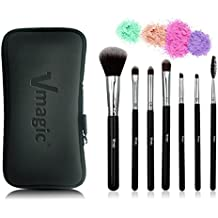 VMAGIC 7Pcs-Silver Black Pro Makeup Brushes Set Cosmetics Foundation Blending Blush Eyeliner Face Powder Brush with Waterproof Travel Bag for Real Makeup Artist Techniques Brushes by VMAGIC