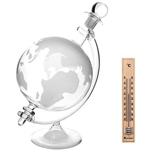 Lantelme 6723 Whiskykaraffe und Holzthermometer Set - Glas Karaffe als Globus/Weltkarte und Holz...