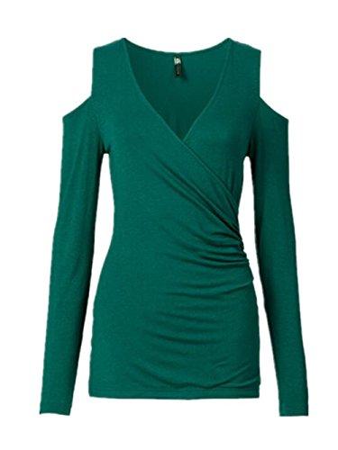 BESTHOO Donna Maglietta V-collo Manica Lunga Casuale Camicetta Slim Elegante Senza Spalline T-Shirt Tops Moda Green
