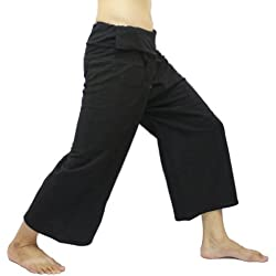 Fisherpant Fisherman Pant ** BLACK ** SHORT Pants Yoga Wrap Sport Thailand Thai Long by Chaolay