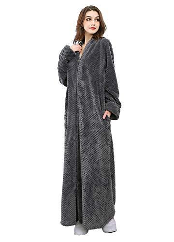 Damen Bademantel aus Fleece, lang, Reißverschluss vorne, mit Taschen - Grau - Medium - Reißverschluss Damen Fleece-bademäntel Vorne