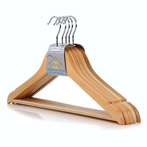 10 hochwertige Holzkleiderbügel in Premium Qualität mit rutschfestem Hosensteg, 45 cm Hangerworld