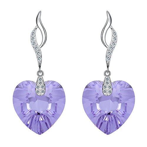 Clearine orecchini 925 argento forma di cuore vuota foglia floreale orecchini pendenti adornato con swarovski cristallo lavanda viola