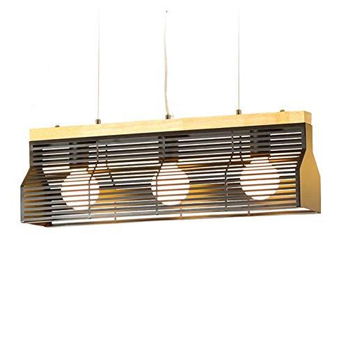 KAD Kronleuchter Kreative Einfachheit Schwarz Schmiedeeisen Käfig Schatten Natürliche Massivholz Beleuchtung E27 Große Deckenleuchte Lampe Für Esszimmer Schlafzimmer zcxbnjhghfgdfd -