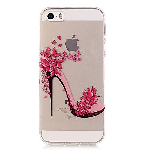 Voguecase® Per Apple iPhone 5 5G 5S, Custodia Silicone Morbido Flessibile TPU Custodia Case Cover Protettivo Skin Caso (Nero - be happy 03) Con Stilo Penna rosso scarpe con tacco