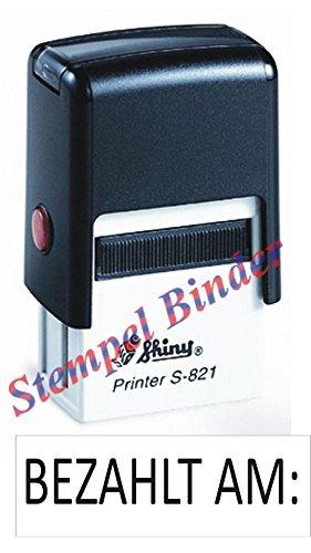 Preisvergleich Produktbild Automatikstempel mit Stempelkissen 10 x 26 mm mit Text: BEZAHLT AM