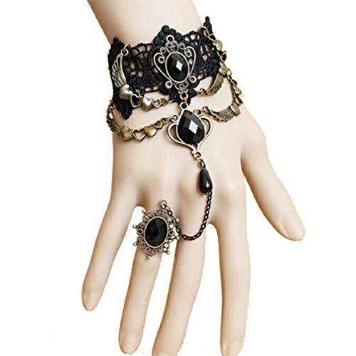 Toporchid 1 Stück Vintage Black Lace Halskette Armband Herz Anhänger Armband Halskette für Frauen, Stil 2