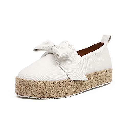 Mocasines Mujer Alpargatas Plataforma Mujer Verano Loafers Esparto Cuña 4.8CM Zapatos Tela Espadrillas...