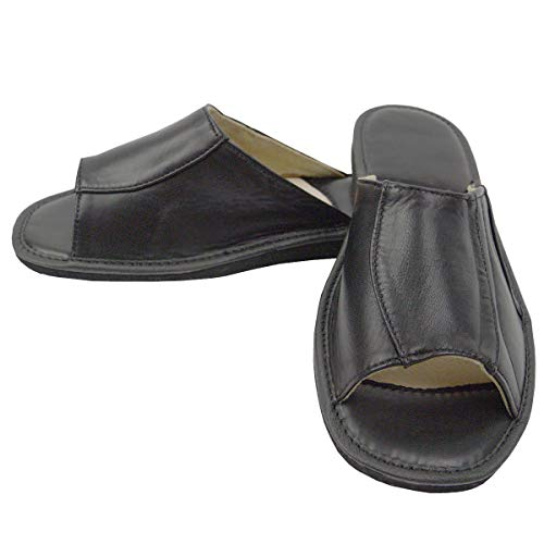 DF-SOFT Herren Herrenpantoffel Pantoffel Hausschuhe Haus Schuhe Leder Pantoffel Lederpantoffel Pantoletten Herren Schlappen Herren Modell 202 (42 EU)