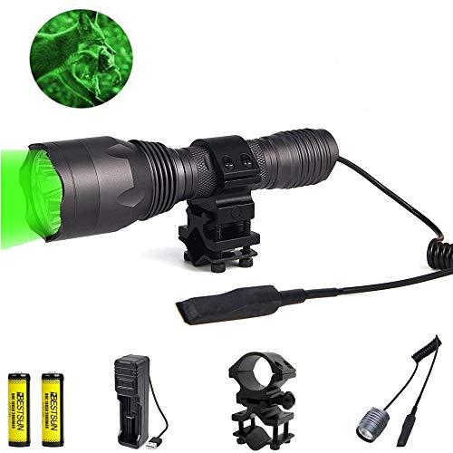 Grünes Licht Taschenlampe, 350 Yards Grünes Licht Taschenlampe 1000 Lumen Jagd-Taschenlampe Wasserdichte Singlemode-Taschenlampe mit Druckschalter