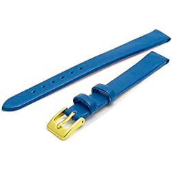 Fine Calf Leather Watch Strap Band 12mm Extra-Long XL Mid Blue with Gilt (Gold Colour) Buckle. Free Spring Bars (Watch Pins)
