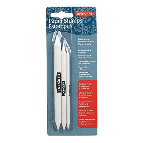 Derwent 2302505Papierwischer für Verblenden und Verwischen, 3 Stück im Set, Reispapier, Profi-Qualität, Weiß