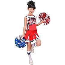 Niñas rojo y azul calcetines de disfraz animadora con pompones Cheer Fancy Dress (16 años, rojo)