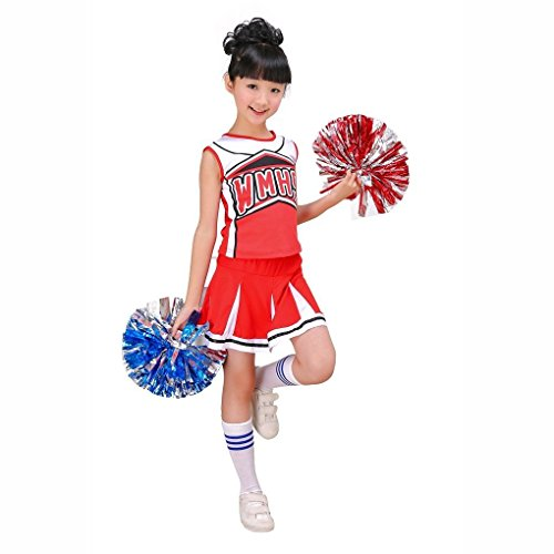 Mädchen Rot & Blau Cheerleader Kostüm Outfit Match Pom Poms Socken Cheer Fancy Kleid (140, (Blauer Cheerleader Kostüm Kinder)