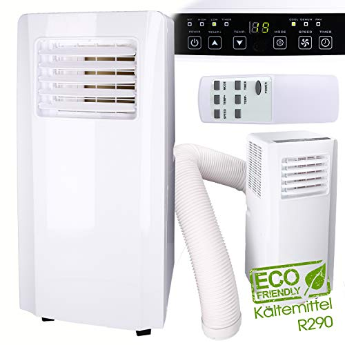 3in1 Mobiles Klimagerät 3,2KW Kühlleistung inkl. Fernbedienung, Klimaanlage, Ventilator, Luftentfeuchter in einem Gerät | Kältemittel R290 | 65dB(A)
