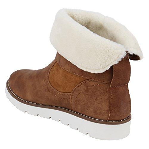 Stiefelparadies Damen Leicht Gefütterte Stiefel Schlupfstiefel Wildleder-Optik Stiefeletten Metallic Wedges Boots Keilabsatz Schuhe Flandell Hellbraun Nieten