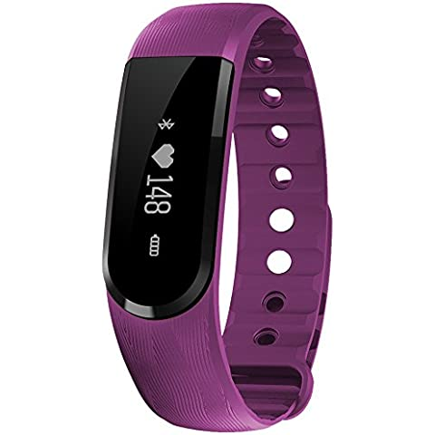 XGUO Braccialetto fitness TouchScreen Activity Tracker 3D Pedometro fitness tracker / smart bracelet / smartwatch (Viola Bluetooth)