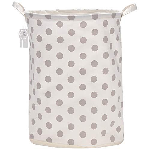 Sea Team 19.7 Inch Large Sized Waterproof Coating Ramie Cotton Fabric Folding Laundry Hamper Bucket Cylindric Burlap Canvas Storage Basket with Stylish Grey Design (Grey Dot)