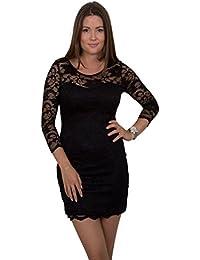 GIOVANI & RICCHI Damen Kleid Spitzenkleid One Size Einheits Groesse Mix Schwarz, Weiss (Color: Schwarz, Groesse: S)