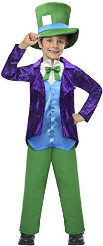 Fancy Me Jungen, Samt, Hutmacher Alice im Wunderland, verrückt verrückt, bunt, Weltbuch-Tag, Woche, Karneval, TV-Film, - Disney Samt Kostüm