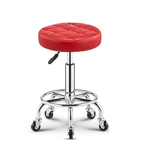 QQXX Barhocker Einstellbare Roll Clinic Spa Massage Hocker Stuhl Salon Stuhl, Friseur Maniküre Tattoo Therapie Schönheit PU Leder mit Rad (Farbe: Rot, Größe: Eins) (Antik Friseur Stühle)
