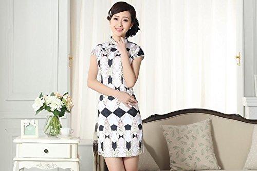 Bigood Robe Chinoise Sexy Femme Cheongsam Manche Courte Elégant Style B Style B
