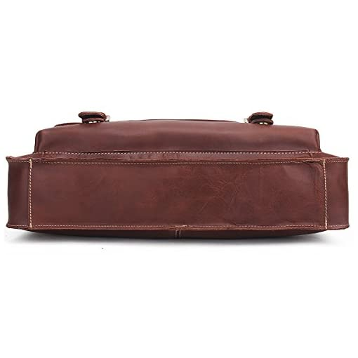 Contacts Genuine Leather Mens Briefcase Messenger 14″ Laptop Bag Brown
