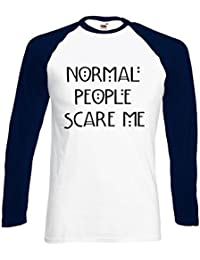 Normal People Scare Me Funny Novelty Black/White Femme Homme Men Women Unisex Manches Longues Long Sleeve Baseball T Shirt