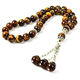 Masbaha Unisex Genuine Tiger Eye Gemstone Prayer Beads (MGT 111)