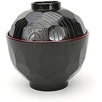 Japan - Cuenco con tapa para sopa de miso, lacado, color negro