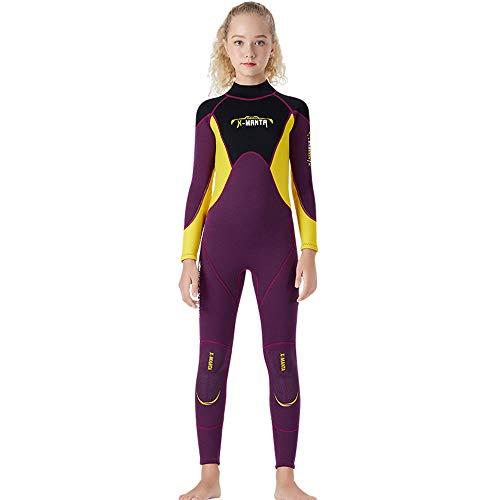 Qzvof Kinder-Neoprenanzug, 3Mm Neopren-Neoprenanzug für Kinder, Sonnenschutz-Tauchanzug, Schnorcheln, Tauchen, Schwimmen,Red,AsiaS=USXS
