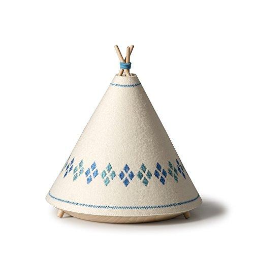 Buokids TIPI02 Lámpara de Sobremesa, Madera, Azul, 20.5 x 20.5 x 22cm