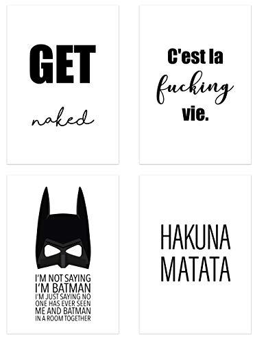 PICSonPAPER Poster 4er-Set, ungerahmt DIN A4, Get Naked, C'est la Fucking Vie, I'm not Saying I'm Batman, Hakuna Matata in Top Qualität (Life, ohne Rahmen)