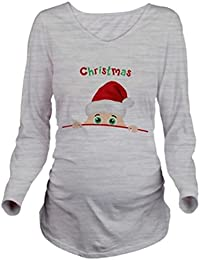 Binhee Camiseta De Manga Larga Para Mujer Con Estampado Santa Peeking