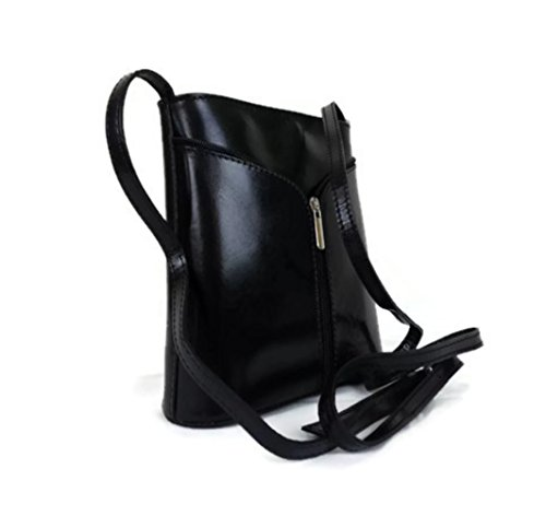 Vera Pelle, Borsa a tracolla donna nero Black / Tan small Black / Red