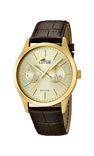 Lotus Men's Quartz Watch with Gold Dial Analogue Display and Brown Leather Strap 15957/2