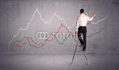 Chart Ladder (Wunschmotiv: male on ladder drawing chart lines #116421341 - Bild als Foto-Poster - 3:2 - 60 x 40 cm / 40 x 60 cm)