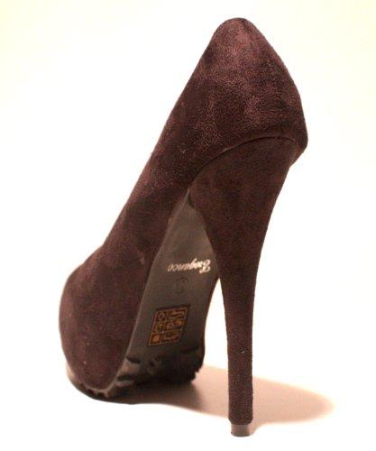Erogance Velourleder Plateau High Heels, Scarpe con plateau donna Nero (nero)