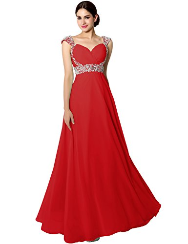Clearbridal Damen Lang Ballkleid Abendkleid Brautjunfernkleid Elegant Glitzer mit Träger CSD179 Rot...