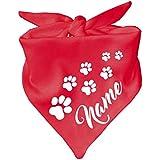 Hunde Dreiecks Halstuch (Fb: rot) Name des Hundes