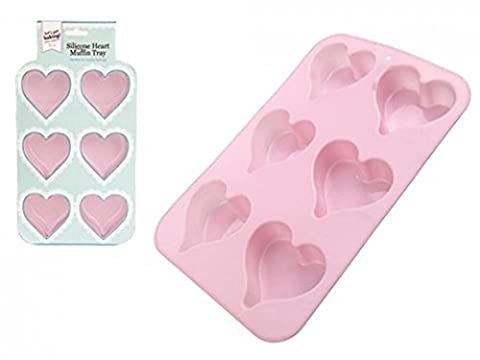 Lets Get Baking Heart Shaped Silicone 6 Cup Muffin Cupcake Bun Cake Tray