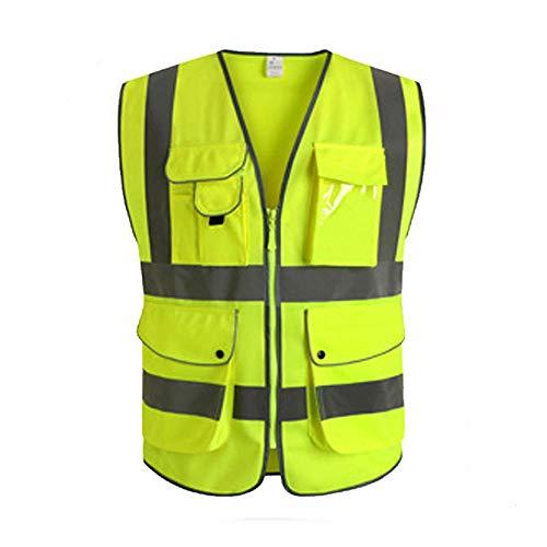 Reflektierende Jacken Multi-Pocket reflektierende Kleidung Verkehr Bau Weste reflektierende Weste für Arbeit im Freien Aktivität Sicherheitsweste für Arbeiten im Freien Radfahren ( Größe : Medium )