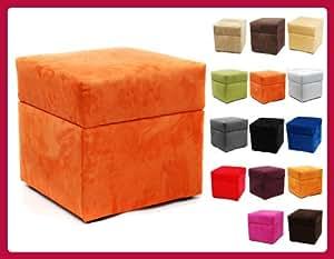 Pouf cube coffre de rangement ALICANTE BOX 40cm/40cm Orange W079 06