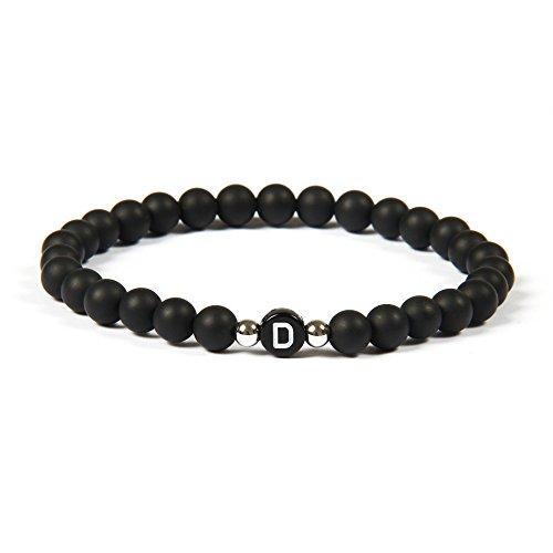 GOOD.designs name Pulsera hecha de piedras de ónix negro con cuentas de letras de A-Z, pulsera de amistad con pequeñas cuentas de plata esterlina (Letra D)